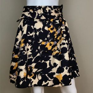 The Limited Purple Pattern S Belted a-line Skirt